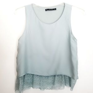 Zara Basic Collection blue top with lace bottom